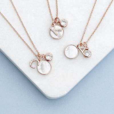 Rose Gold Initial Necklace With Mother of Pearl and Swarovski Crystal