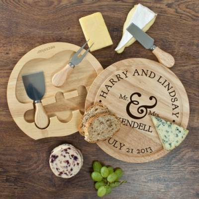 Personalised Mr and Mrs Classic Cheese Board Set - Cheese Gifts