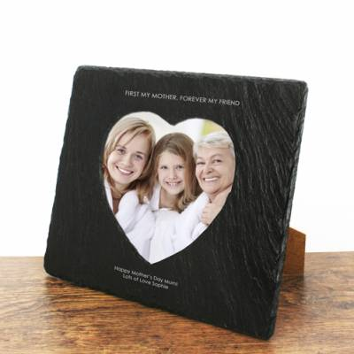 Personalised First My Mother Forever My Friend Heart Slate Photoframe