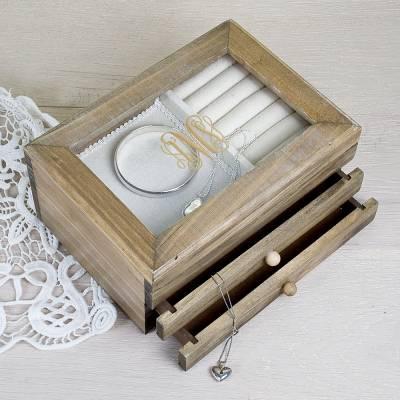 Personalised Bronze Monogrammed Wooden Jewellery Box