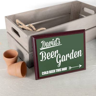 Personalised Beer This Way Garden Plaque