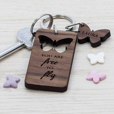 Butterfly Walnut Keyring - Butterfly Gifts
