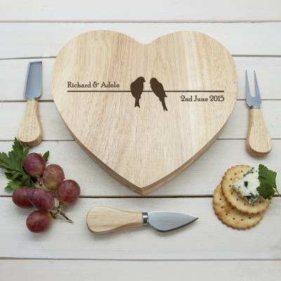 Personalised Love Birds Heart Cheese Board - Cheese Gifts