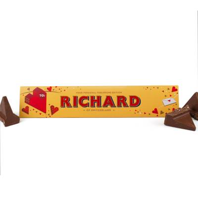 Personalised Valentines Toblerone Bar
