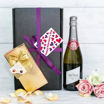 Valentines Day Prosecco and Belgian Chocolates Hamper