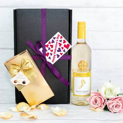 Valentines Day White Wine and Chocolates Hamper - Valentines Day Gifts