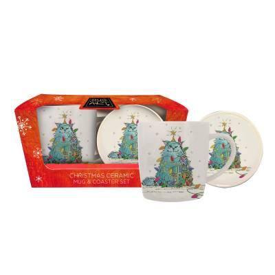 Christmas Cat Mug and Coaster Set