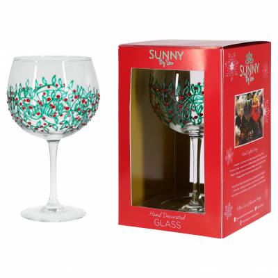 Green Holly Christmas Gin Glass 600ml