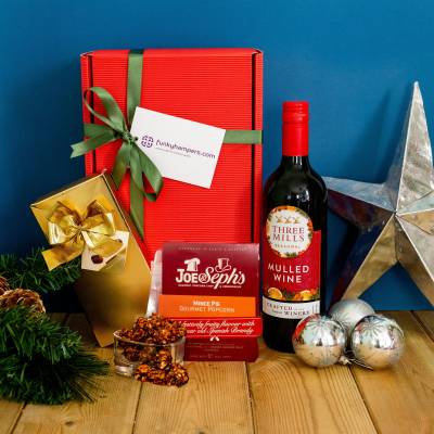 Christmas Mulled Wine, Belgian Chocolates Hamper and Gourmet Popcorn