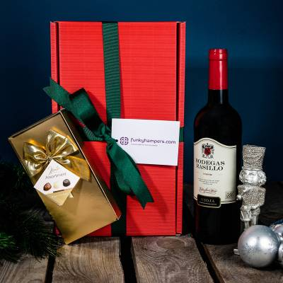 Christmas Red Wine and Belgian Chocolates Hamper