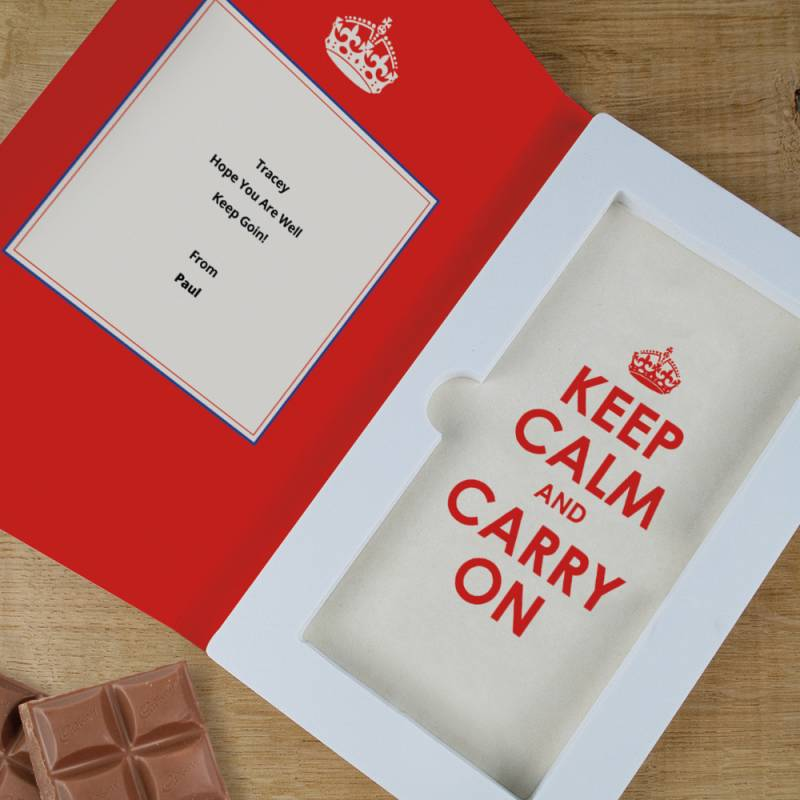 Personalised Keep Calm And Carry On Cadbury Chocolate Card