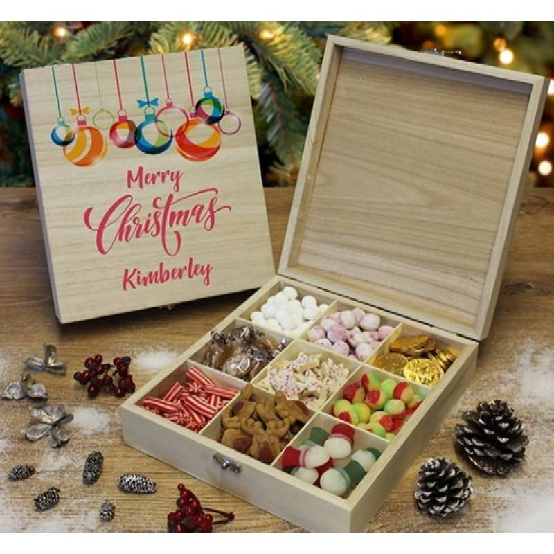 Personalised Merry Christmas Wooden Sweet Box