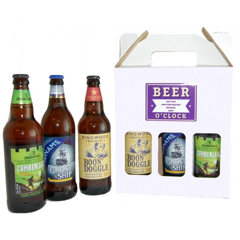 Personalised Beer O'Clock 3 Beers Gift