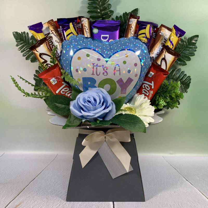 It's A Boy Balloon and Flowers Chocolate Bouquet