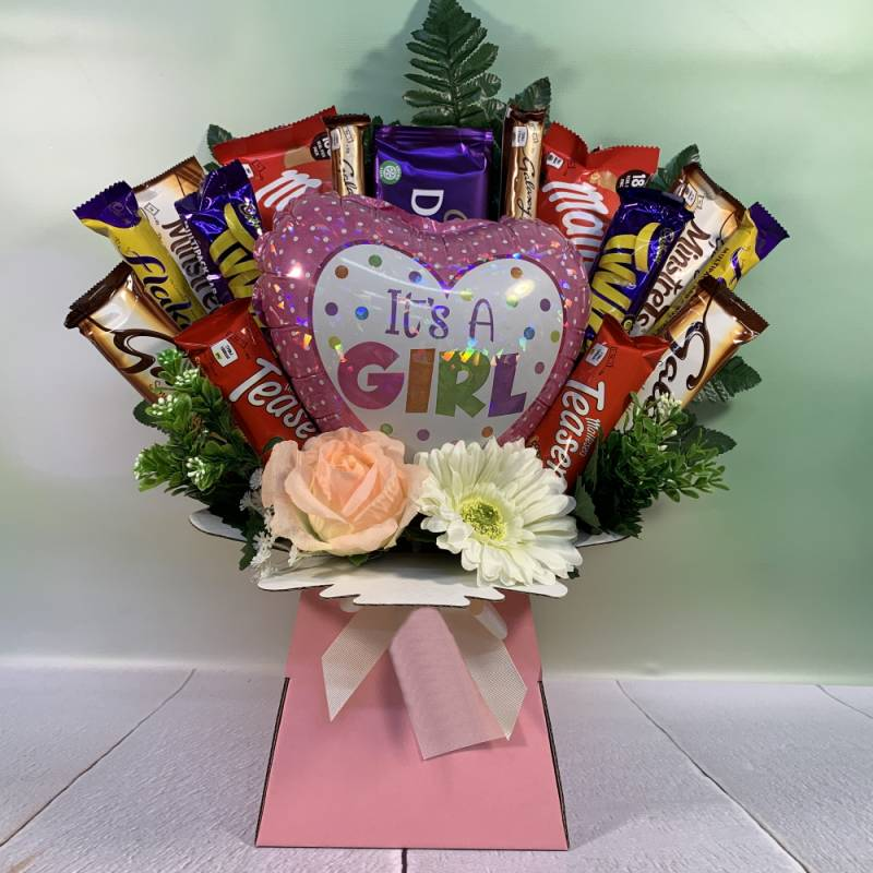 It's A Girl Balloon and Flowers Chocolate Bouquet