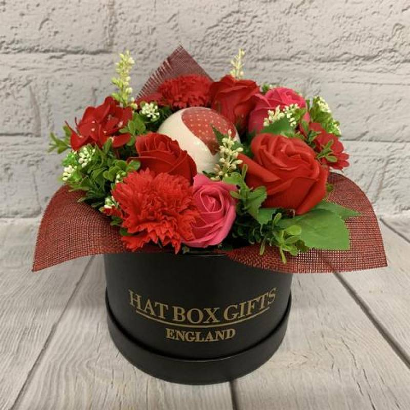 Luxury Soap Flowers and Vegan Bath Bomb Black Hat Box