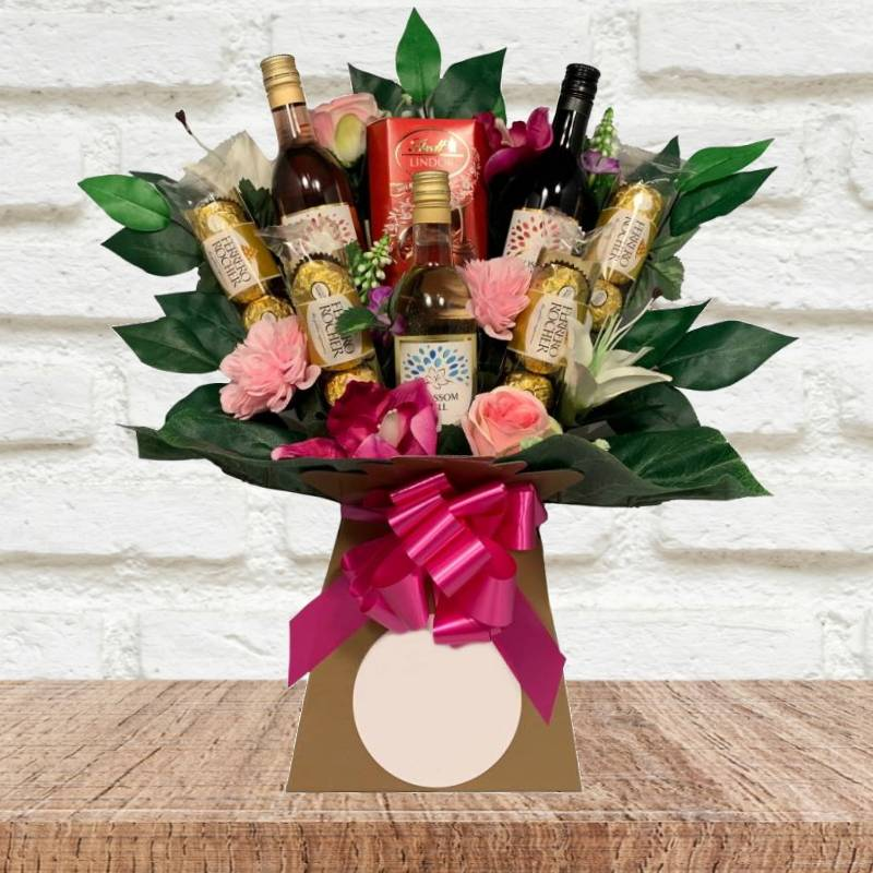 Blossom Hill Wine and Flowers Chocolate Bouquet | Funky Hampers