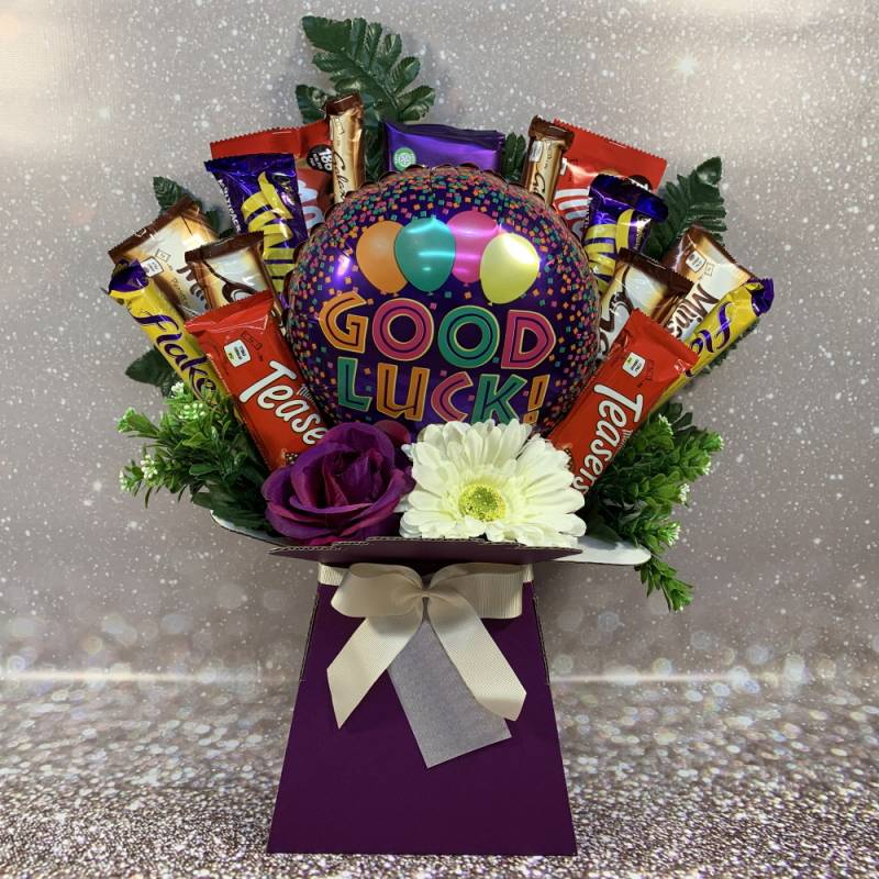 Good Luck Balloon and Flowers Chocolate Bouquet