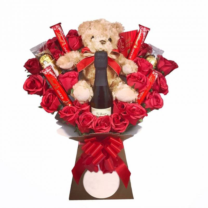 Valentines Gift Set Teddy Bear Chocolate Rose Ferrero Rocher Chocolates