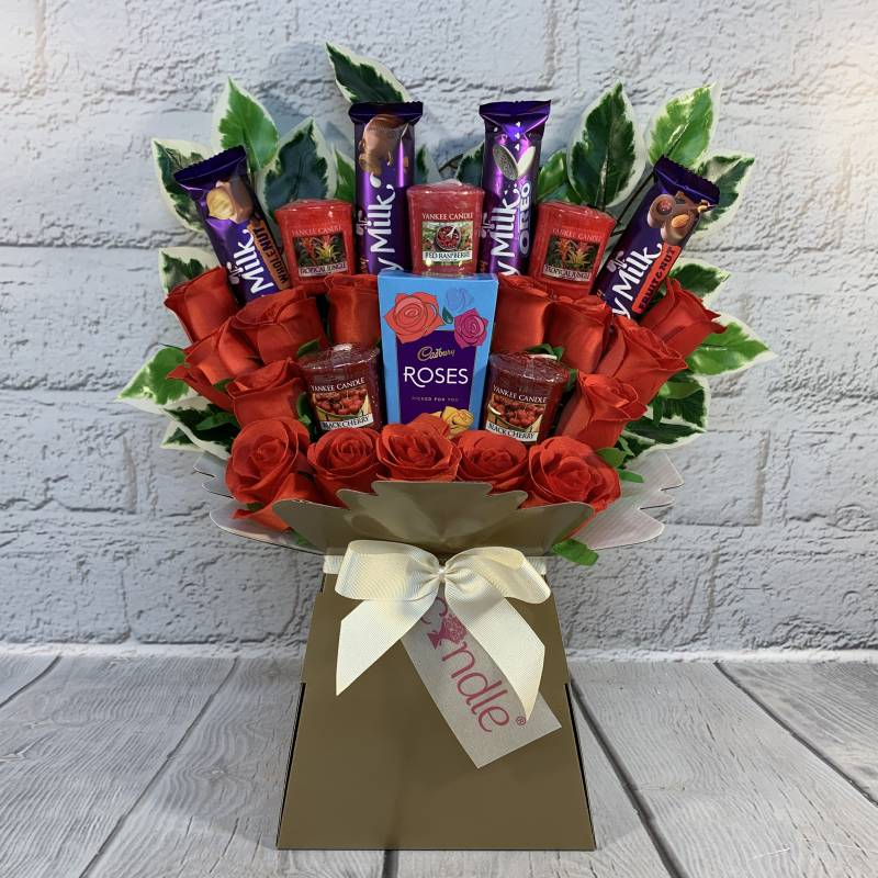 Yankee Candle, Cadbury and Red Roses Bouquet