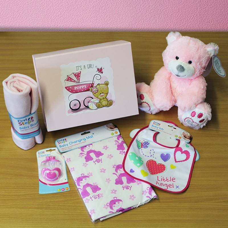 Personalised New Baby Girl Gift Set