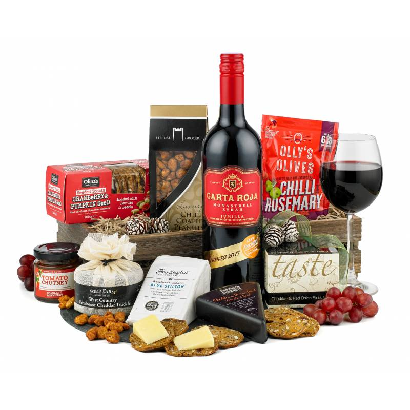 Three Cheese, Red Wine and Nibbles Hamper