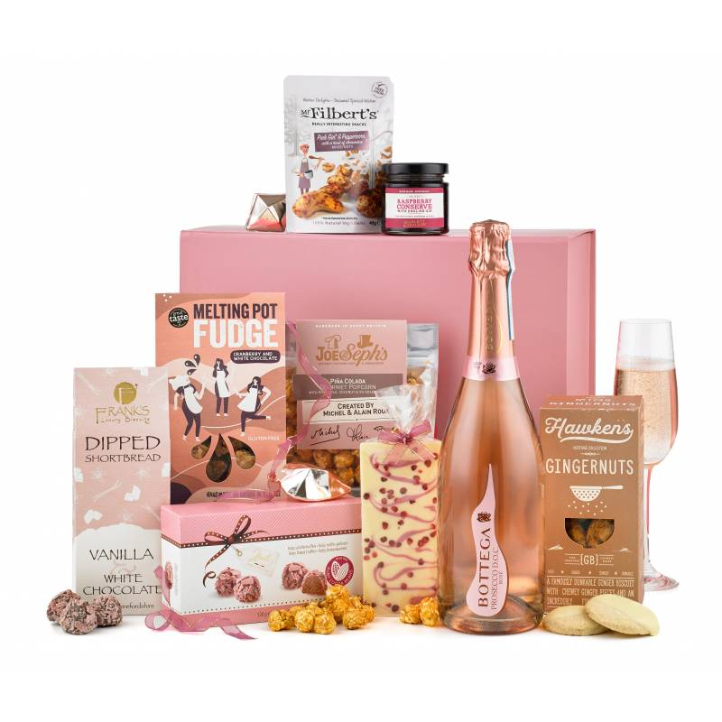 Luxury Rose Prosecco and Pink Treats Gift Box
