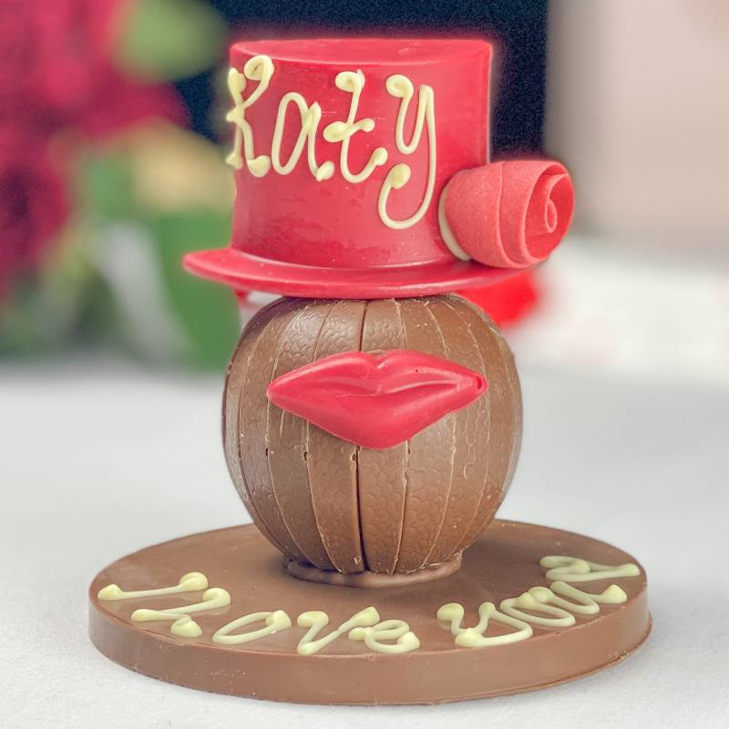 Personalised Chocolate Orange with Red Hat and Lips