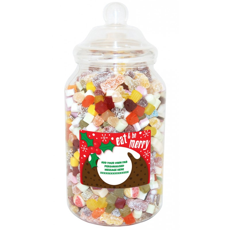 Personalised Be Merry Giant Sweet Jar