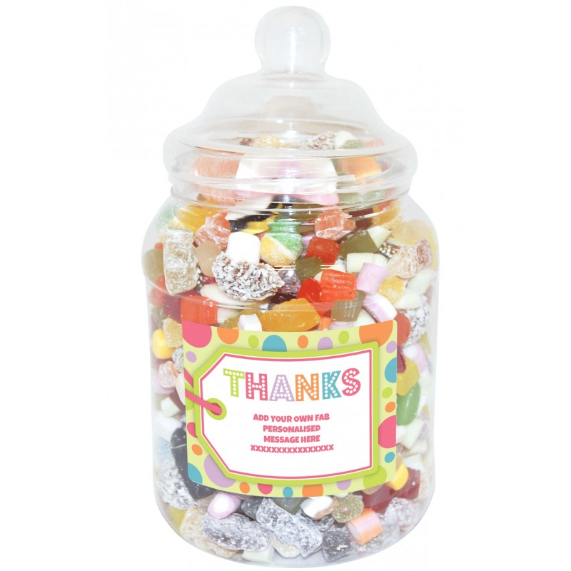 Personalised Thanks Large Sweet Jar
