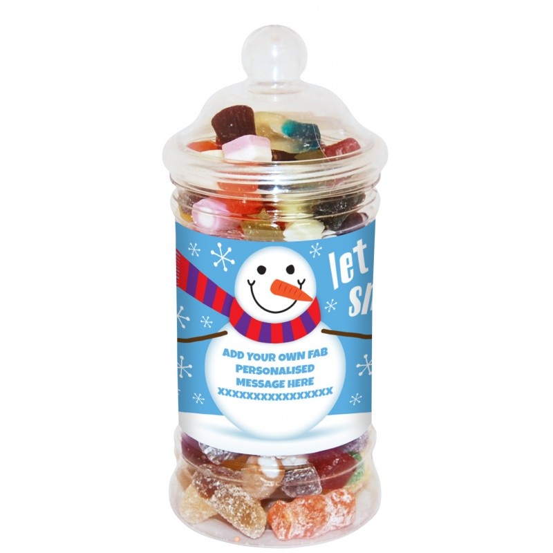 Personalised Snowman Small Sweet Jar