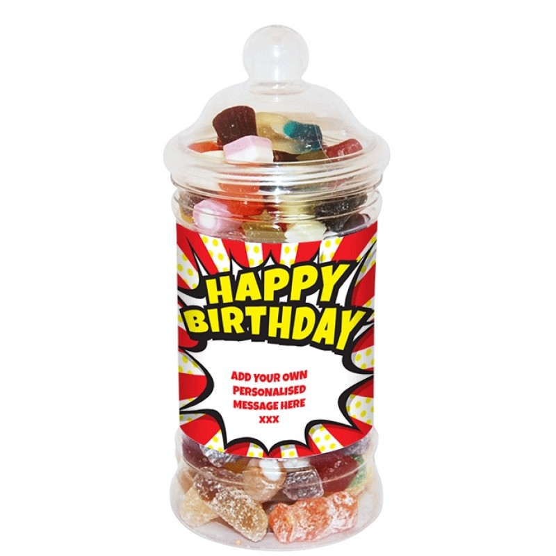 Personalised Birthday Burst Small Sweet Jar