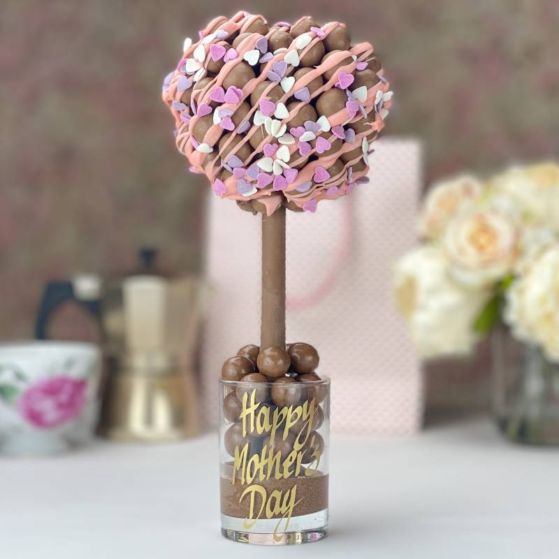 Malteser Heart Tree with Pink Drizzle and Heart Sprinkles