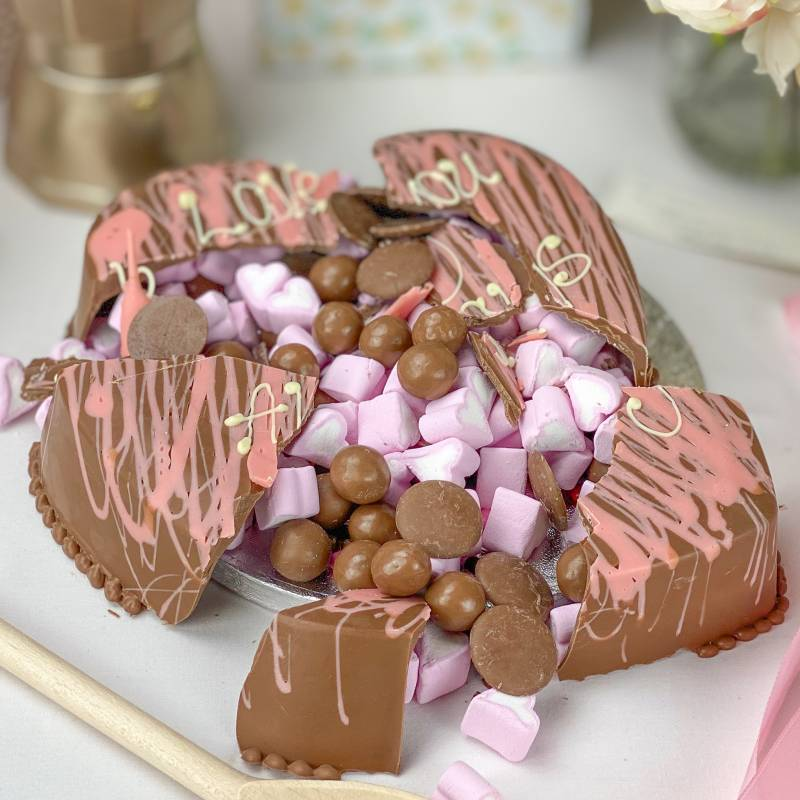 Personalised Chocolate Pink Smash Heart