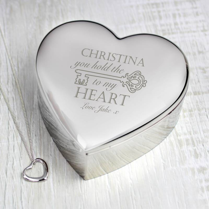 Personalised Key to My Heart Trinket Box & Necklace