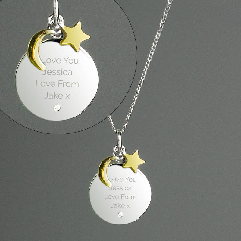 Personalised Moon & Stars Sterling Silver Necklace