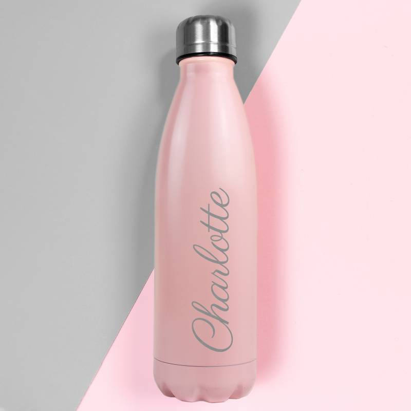 Personalised Pink Metal Insulated Drinks Bottle