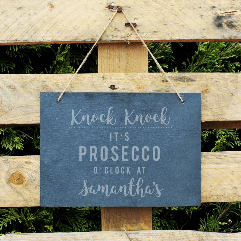 Personalised Prosecco O'Clock Large Hanging Slate Sign