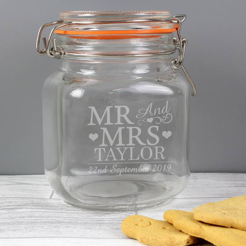 Personalised Mr & Mrs Glass Clip Top Jar