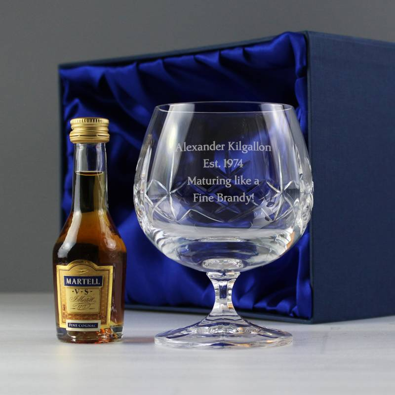 Personalised Crystal & Brandy Gift Set