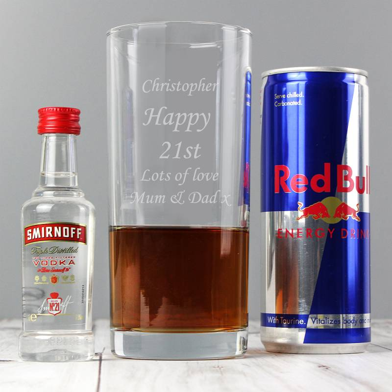 Personalised Vodka And Red Bull Gift Set