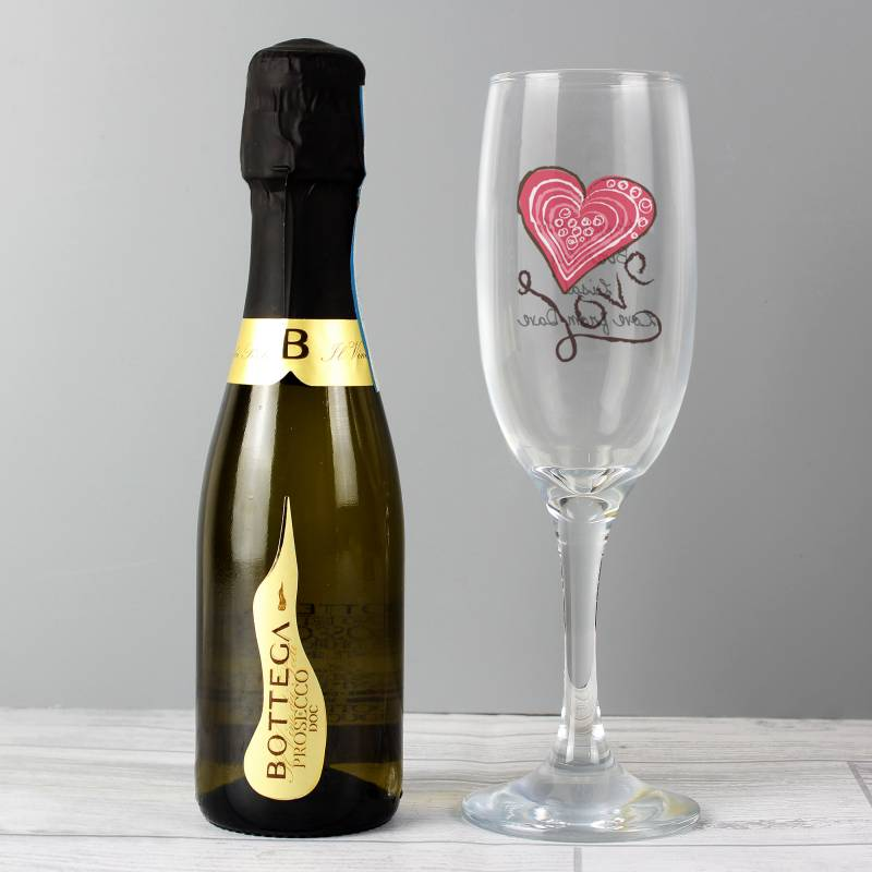 Personalised Love Heart Flute And Prosecco