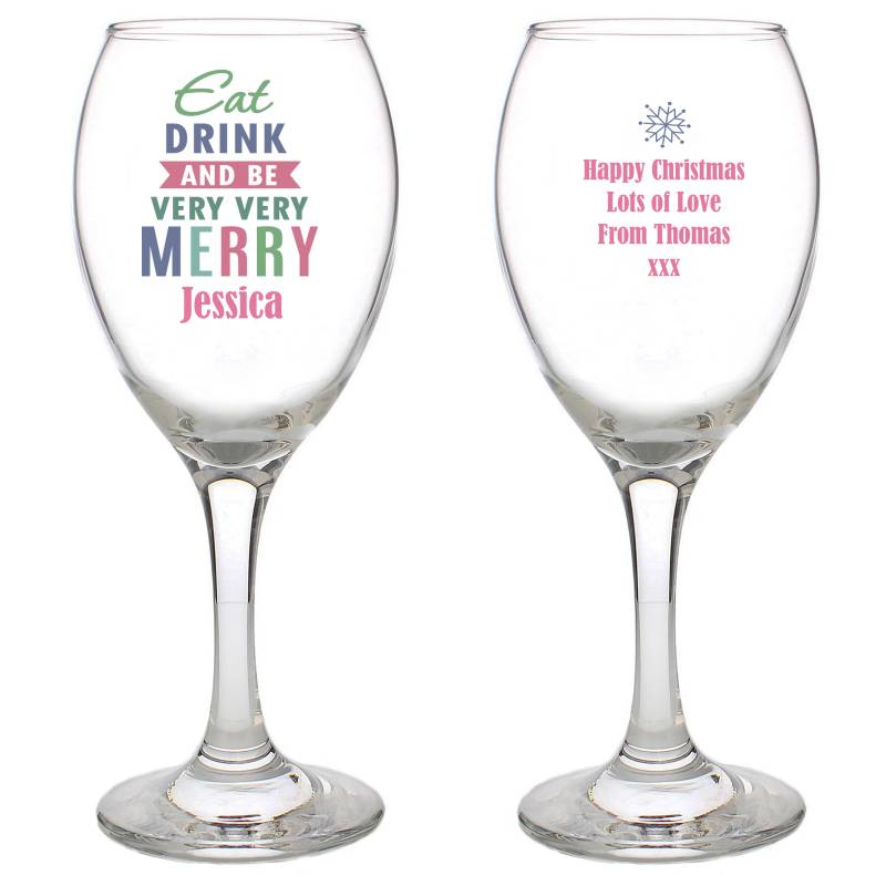 Personalised Merry Wine Glass