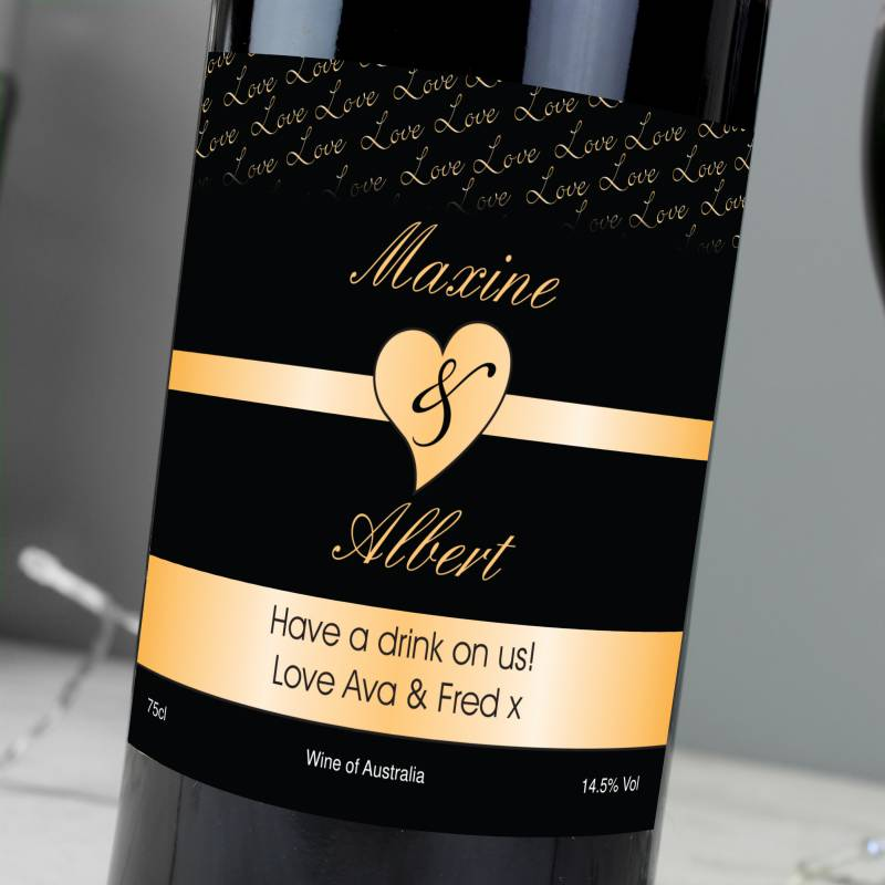 Personalised Couples Heart Red Wine