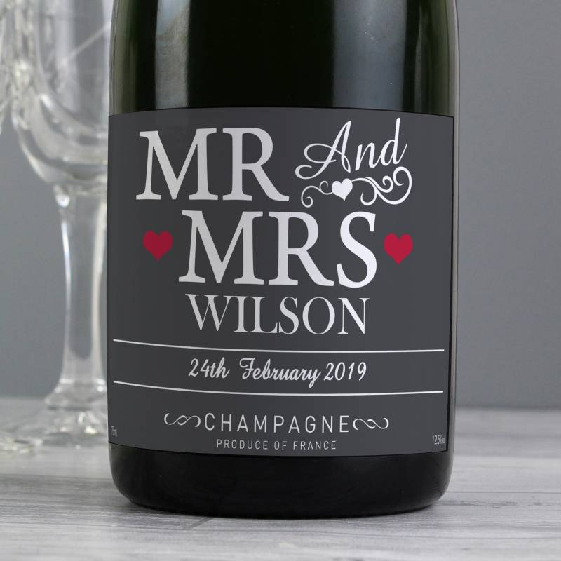 Personalised Mr & Mrs Champagne