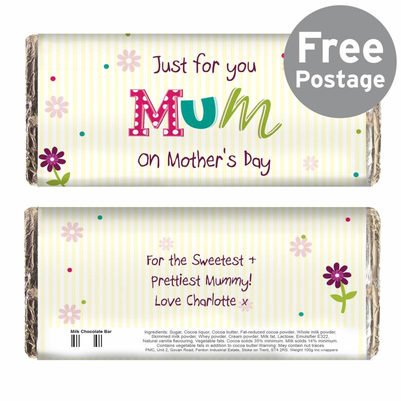 Personalised Patchwork Flowers Chocolate Bar