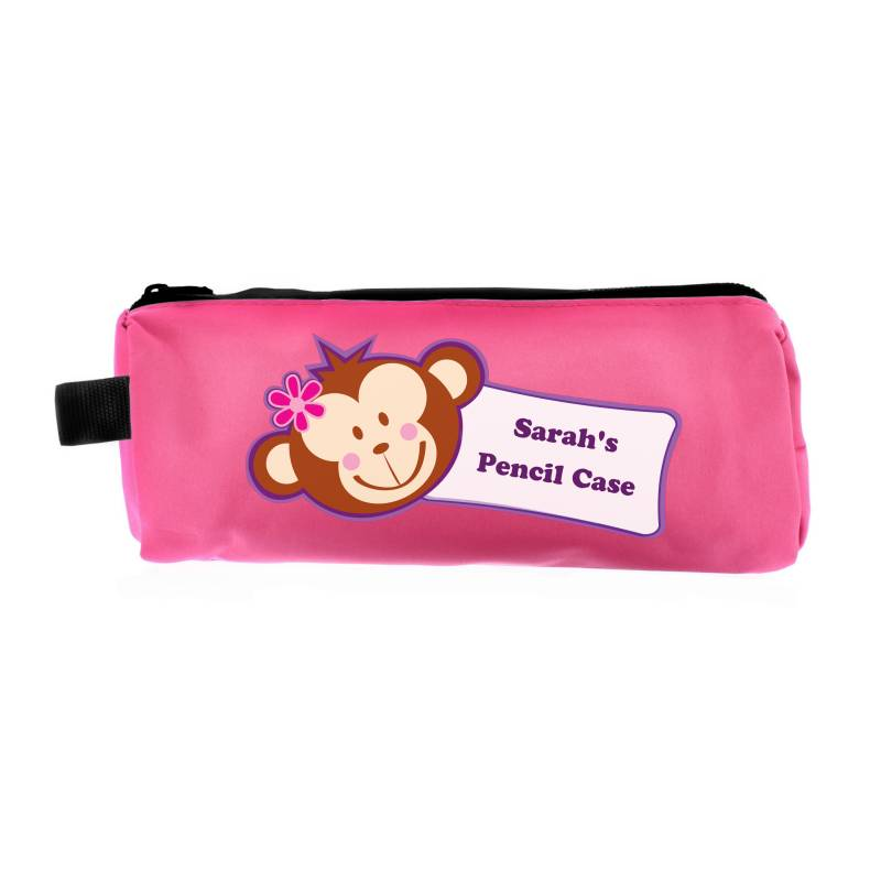 Personalised Pink Monkey Pencil Case