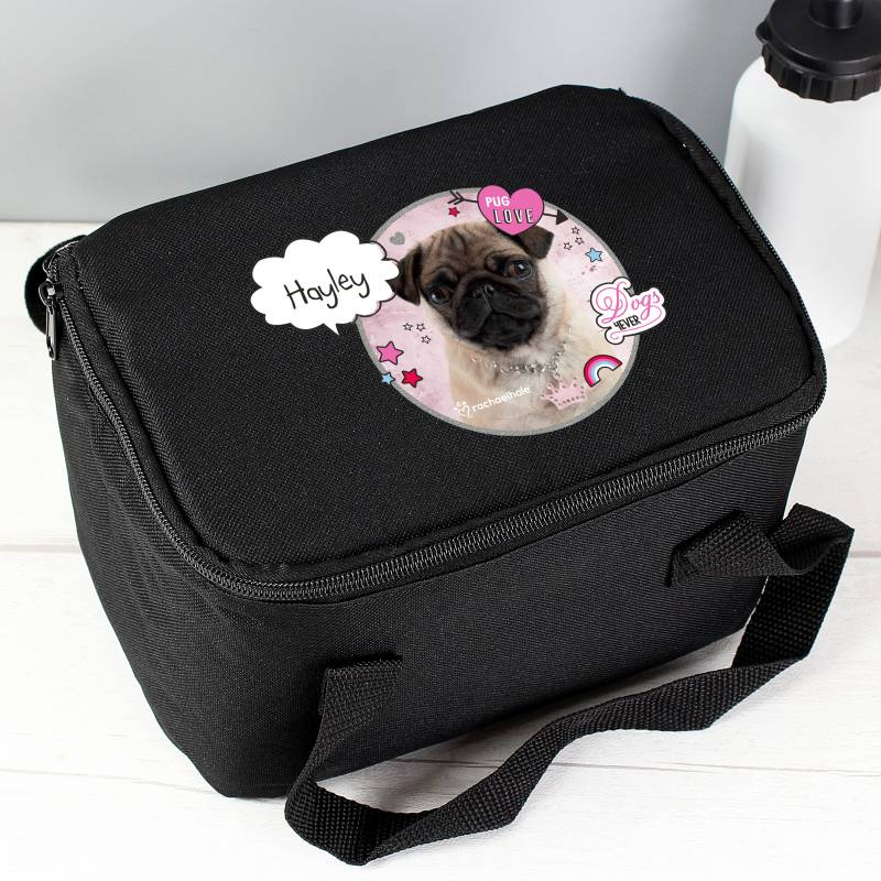Personalised Rachael Hale Doodle Pug Black Lunch Bag
