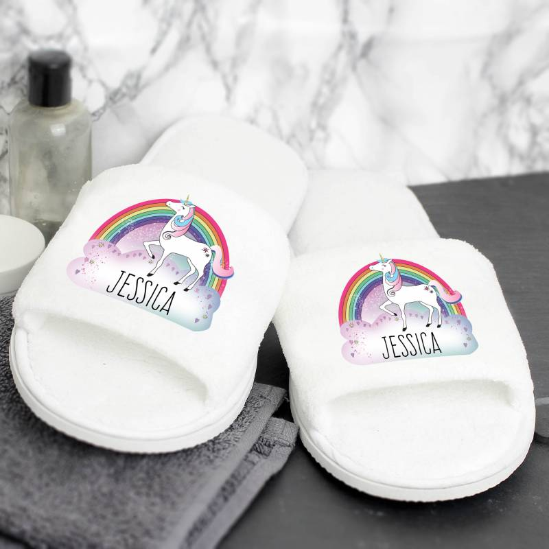 Personalised Unicorn Velour Slippers