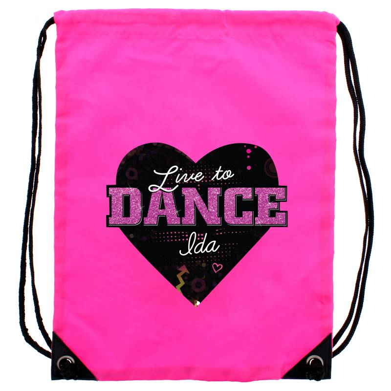 Personalised \'Live to Dance\' Pink Kit Bag